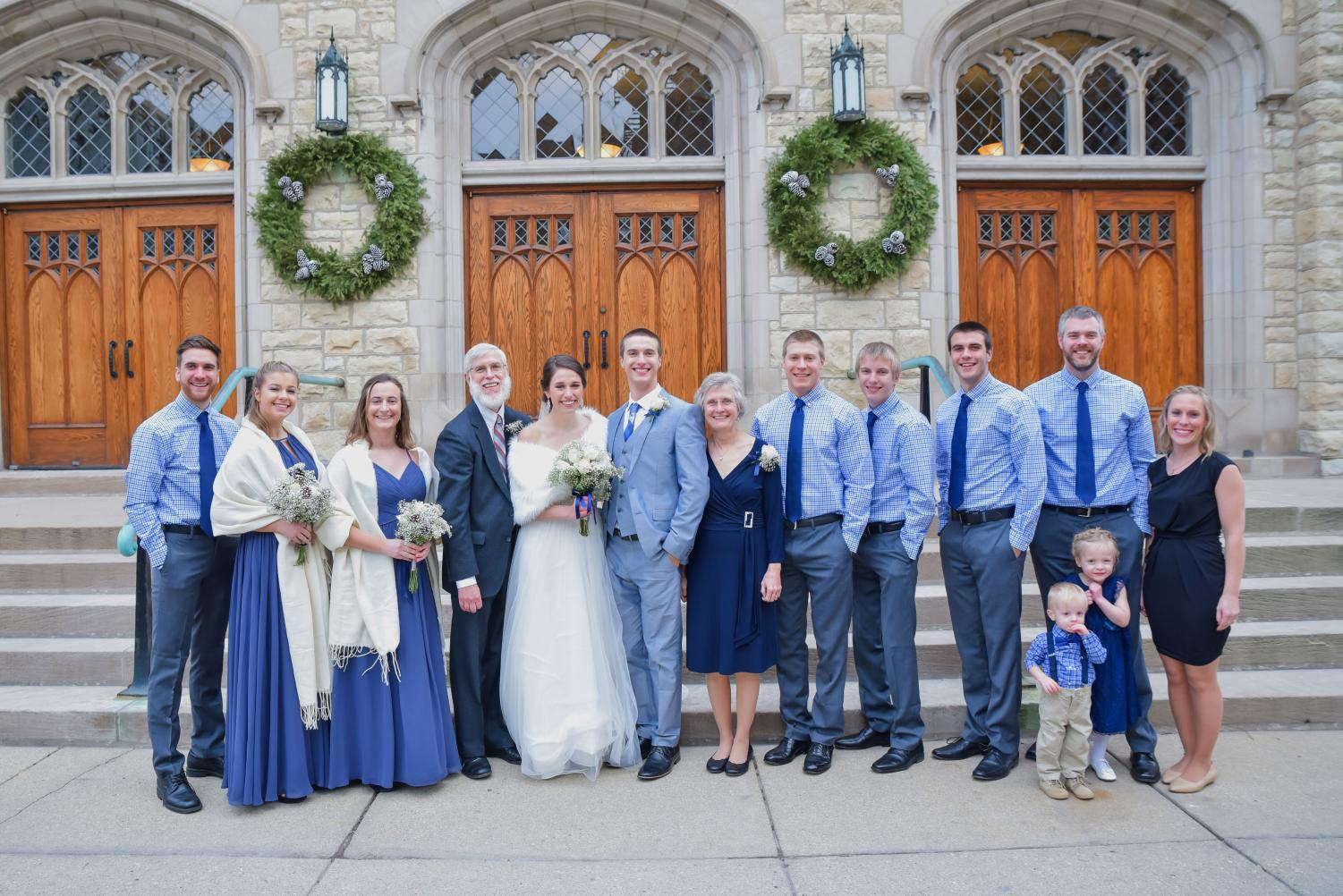 Kendra Klamm with her family at a sibling's wedding