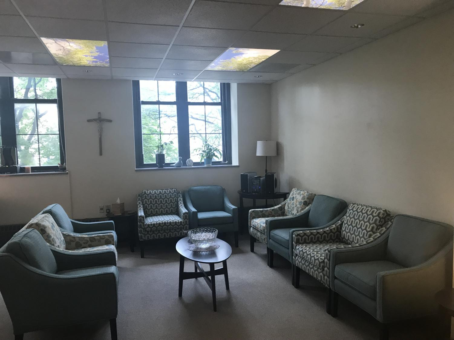 The space now contains sixteen chairs for faculty and staff to participate in spiritual meetings.  Photo courtesy of Annie Matea.
