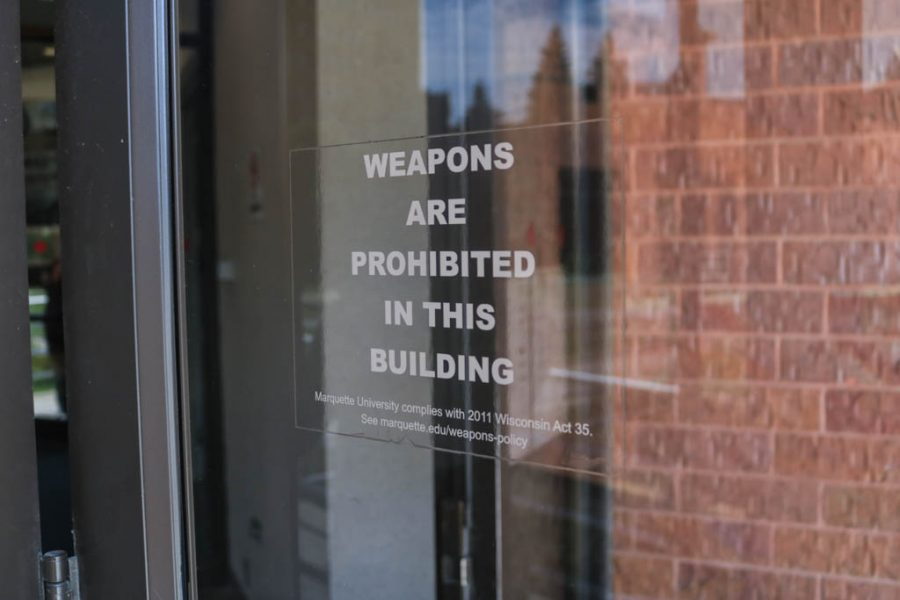 Weaponry signs exist across campus.