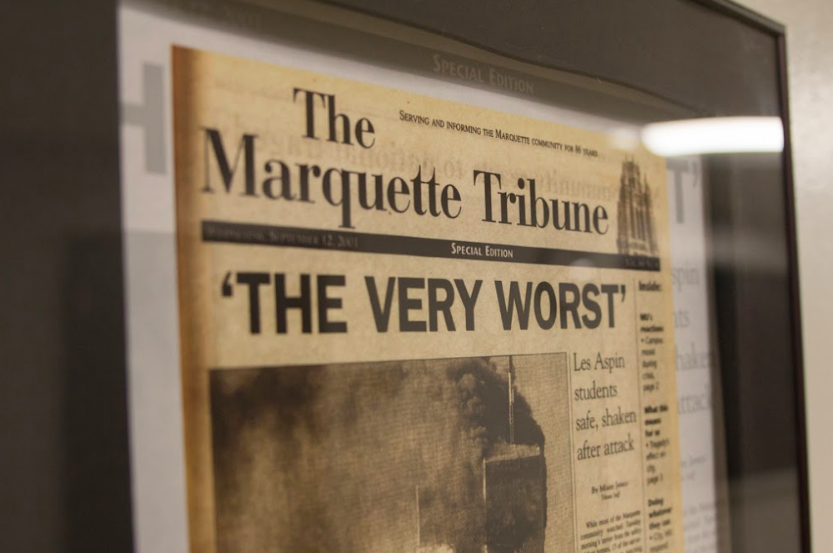 The events of Sept. 11, 2001 effected Americans from coast to coast. Parents, children, family and friends stood by unsure if they would ever see their loved ones again. On the cover of the Marquette Tribune that week, students who were studying in Washington, D.C. at the time described the terror. Students from New York spoke of their frantic calls home.