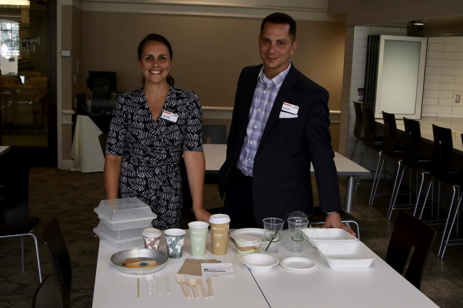 Melanie Vianes and Donato Guida presenting Marquette Dining's compostable and reusable items.  Photo courtesy of Joseph Beaird.