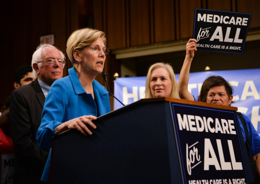 Elizabeth Warren, a senator from Massachusetts, speaks about legislation regarding Medicare For All at a Sept. 13 event.