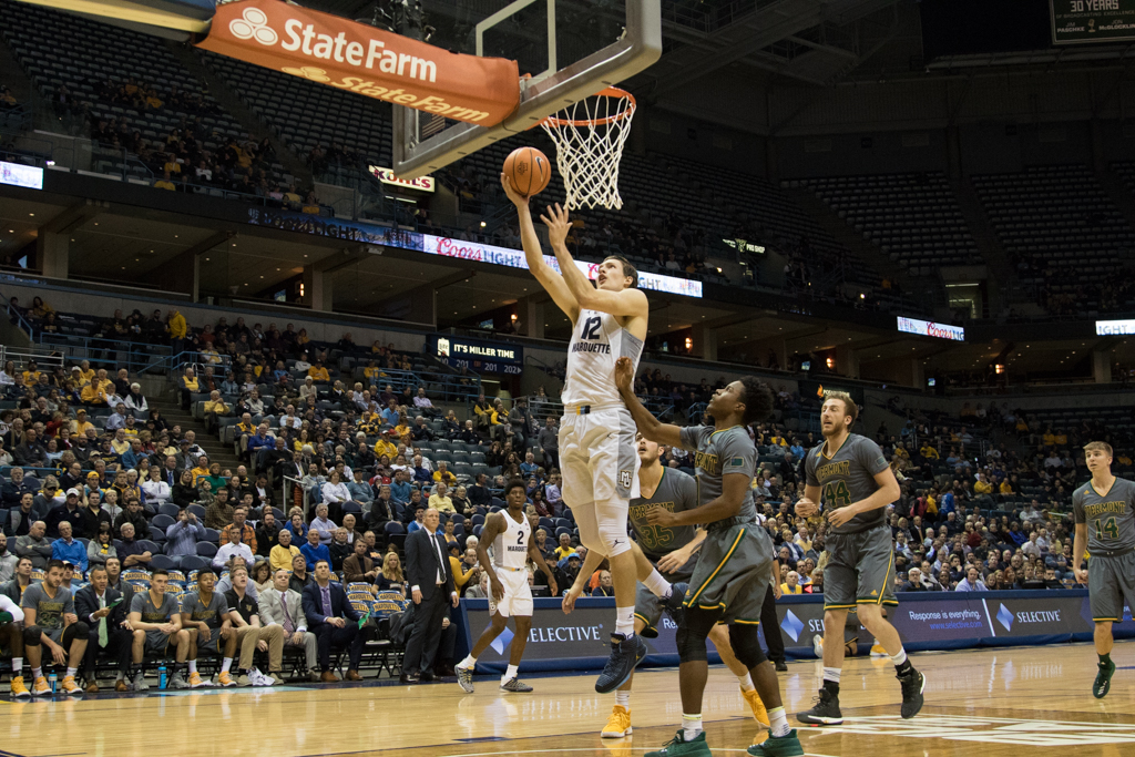 Then-junior Matt Heldt makes a shot against Vermont in MU's 91-81 win in December 2017.
