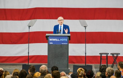 Gov. Tony Evers speaks at a democratic rally in late October 2018.  Wire stock photo.