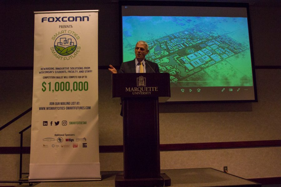 President Michael Lovell speaks at Smart Cities-Smart Futures competition kick-off.