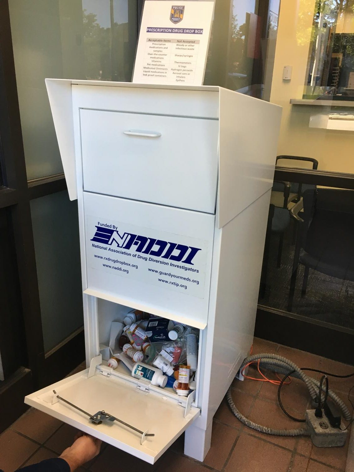 The drug drop off box was filled with nearly 46 pounds of unused or unwanted drugs last semester.  Photo by Emma Tomisch.