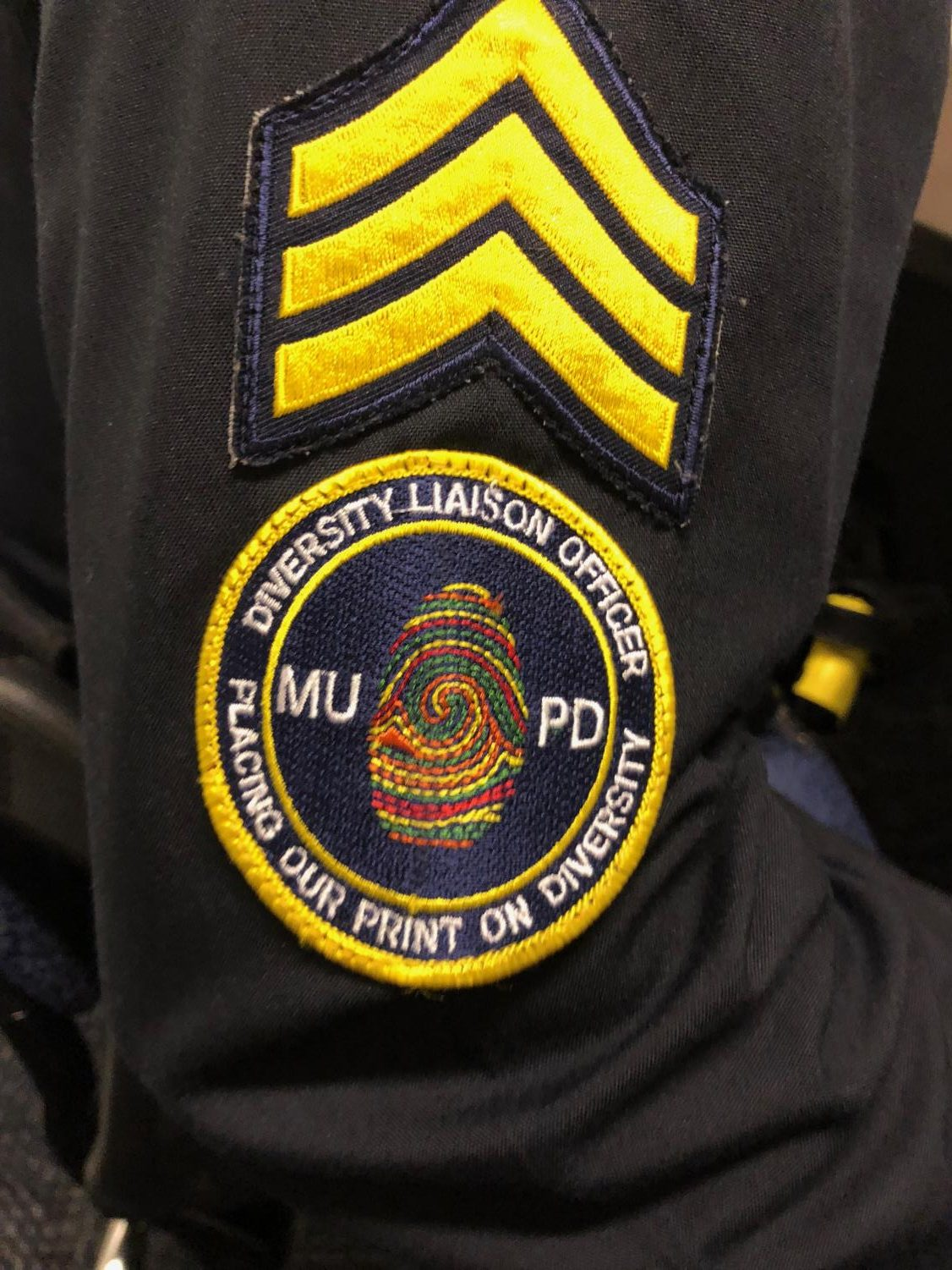 Officers part of the diversity liaison program wear particular badges.  Photo by Emma Tomsich.