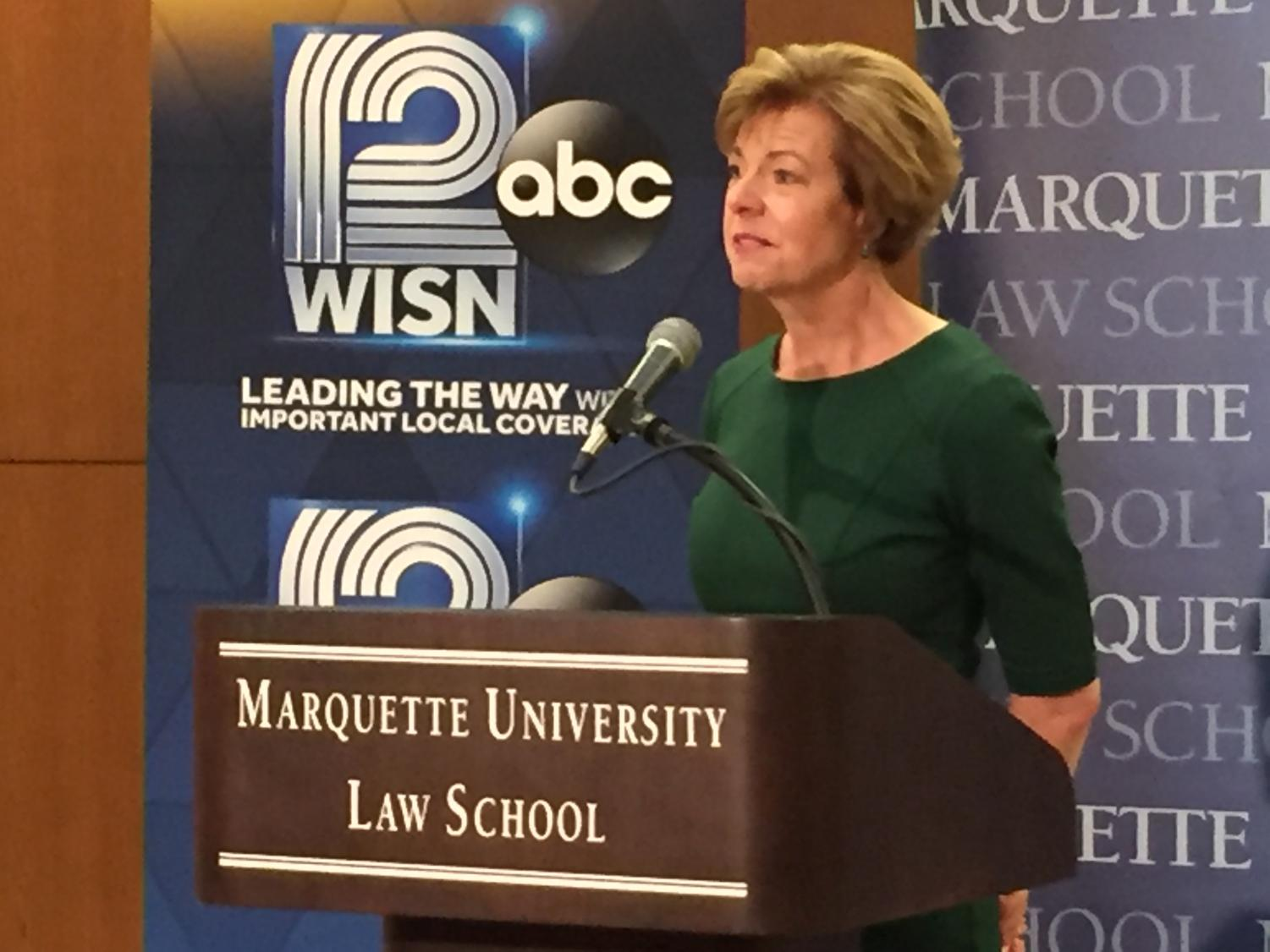 Sen. Tammy Baldwin talks to the media after the debate. Vukmir did not stay for the press conference.