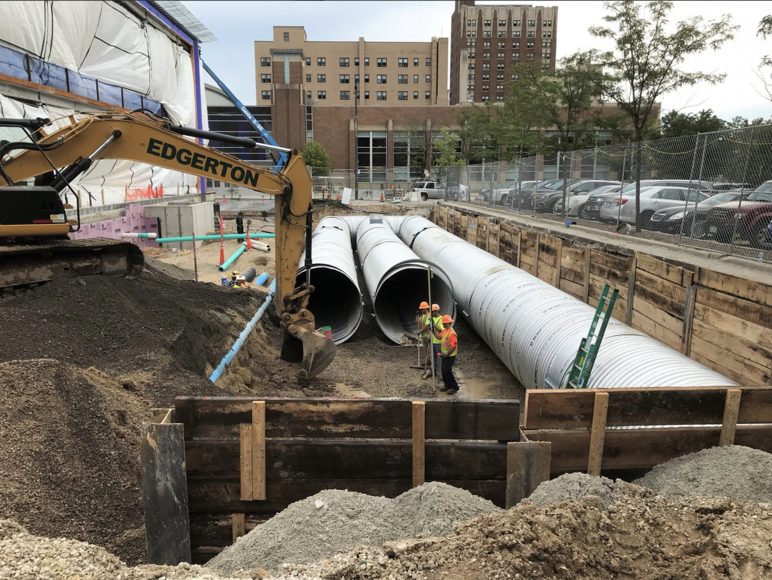 Marquette Sustainability has installed a stormwater collection system adjacent to the new Athletic and Human Performance Research Center that is currently under construction. Photo courtesy of Marquette University Office of Sustainability.
