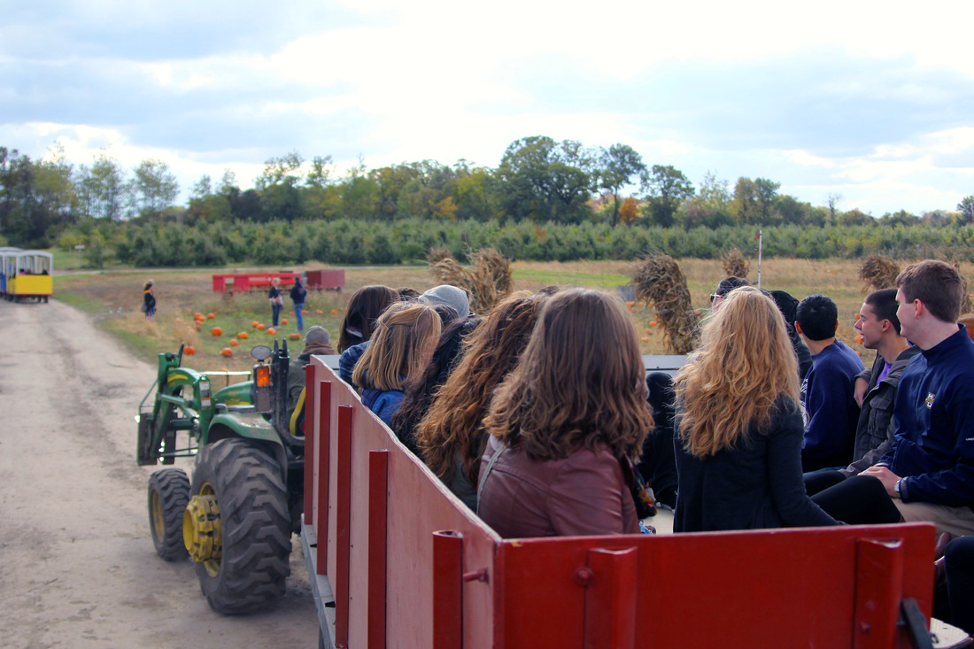Hayrides are just one of several fall-themed festivities available at Apple Holler, located in Sturtevant, Wisconsin.