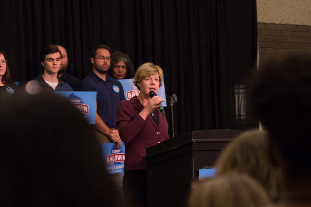 Tammy Baldwin urges college students to vote at a get-out-the-vote rally held at UWM, Monday.