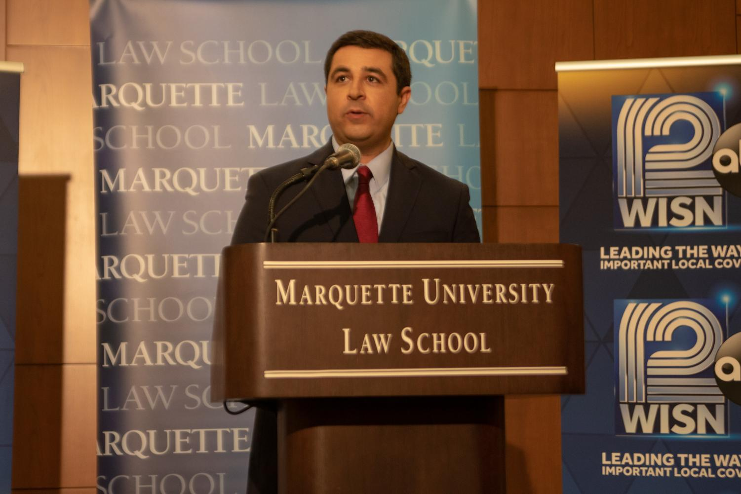 Kaul at an attorney general debate at the Marquette University Law School.