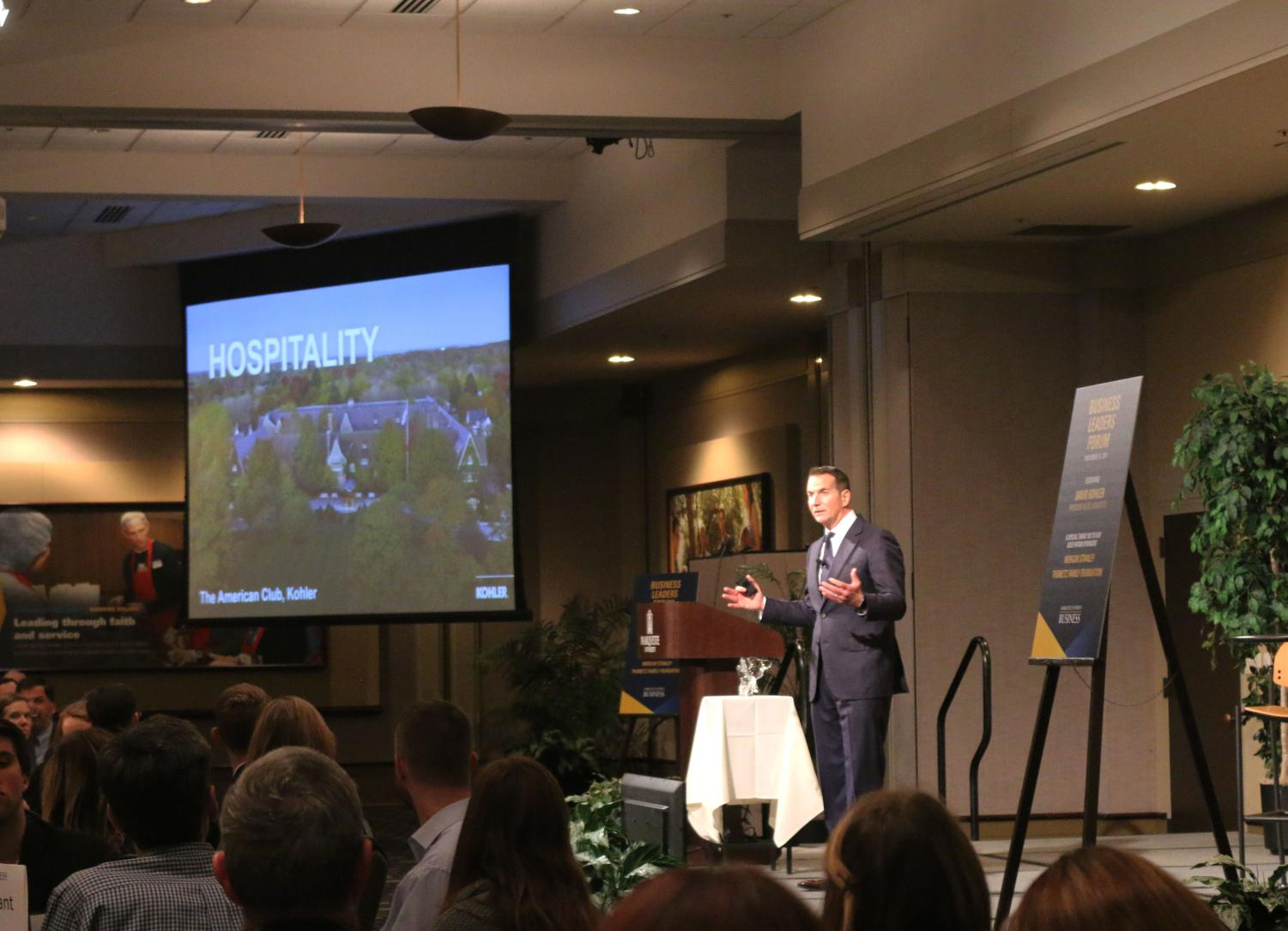 David Kohler, CEO of Kohler Corporation, spoke at the College of Business Administration's Business Leaders Forum last Thursday. The event was open to Marquette University students, faculty, staff and community members.