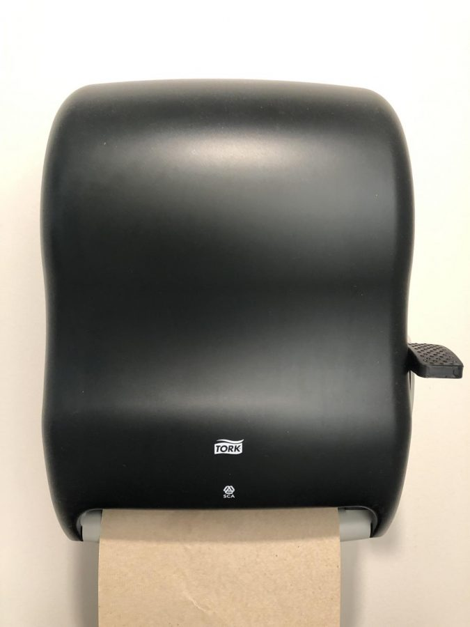 The Commons uses paper towels, in comparison with hand dryers. (Photo by Alex Garner)