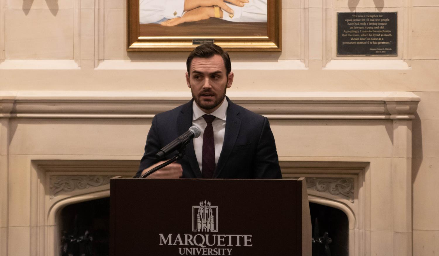 "Republican U.S. Rep. Mike Gallagher from the 8th District of Wisconsin visited Marquette University Monday to lead a discussion at Sensenbrenner Hall titled ""Wisconsin and American Foreign Policy."""