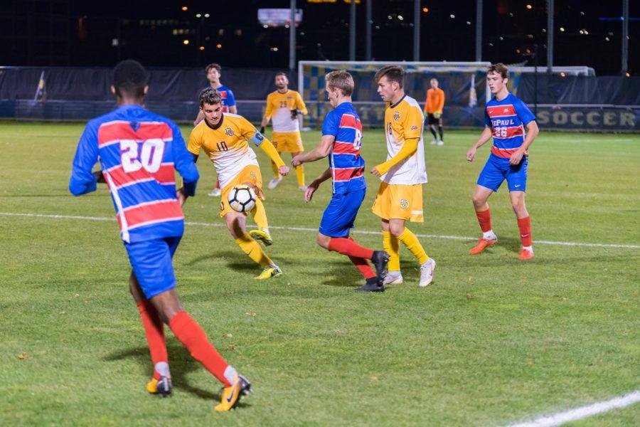 Men's soccer ends regular season with shutout of DePaul
