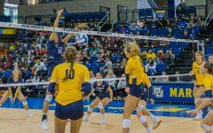 Volleyball sweeps Xavier for final regular-season road match