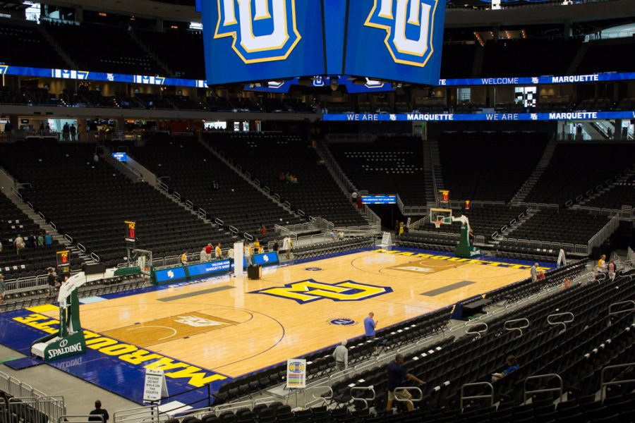 Marquette+considered+leaving+Fiserv+Forum+%28above%29+for+its+own+construction+project+on+a+downtown+arena%2C+according+to+sources+who+wished+to+remain+confidential.