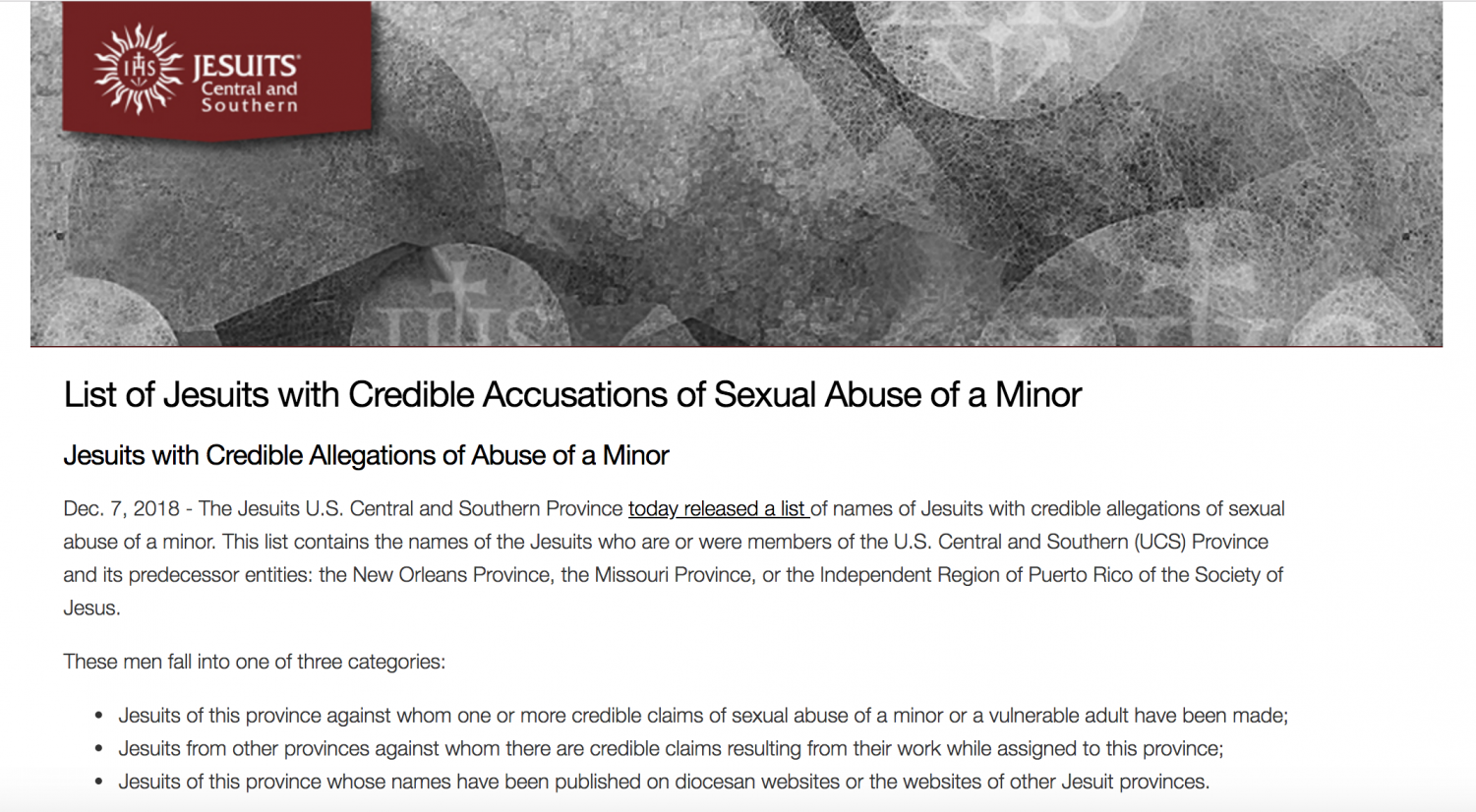 The U.S. Central and Southern Province released a list recently that names Jesuits with credible sexual abuse allegations against them. Image via the U.S. Central and Southern Province website.