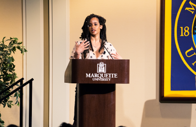 Dascha Polanco talks to students about losing her mother as well as becoming a teen mom and struggling with self-confidence as an adolescent.