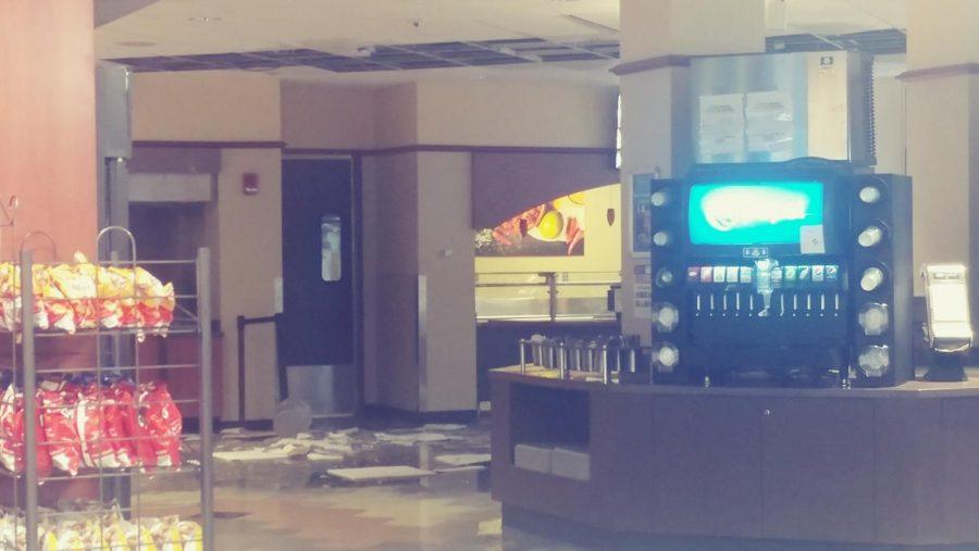 Water causes leaking, fallen ceiling tiles in AMU