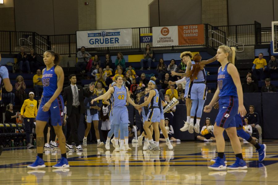 Marquette+women%27s+basketball+celebrates+its+largest+win+over+DePaul+in+program+history+Friday+at+the+Al+McGuire+Center.