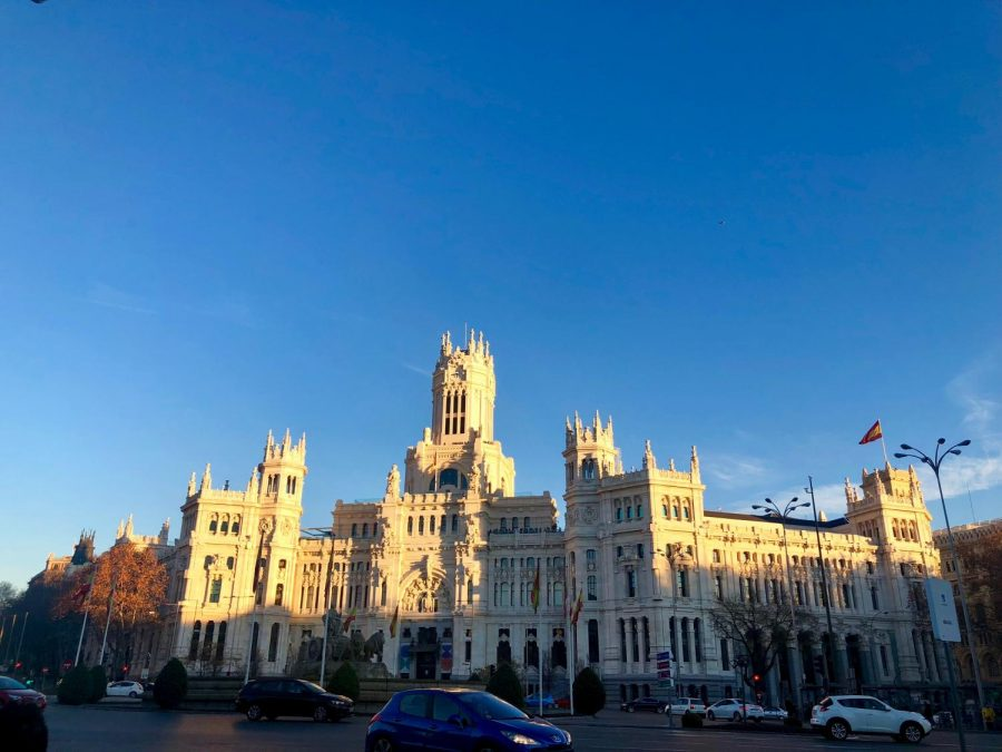 Aguirre shared a photo of Madrid City Hall from her first week abroad.