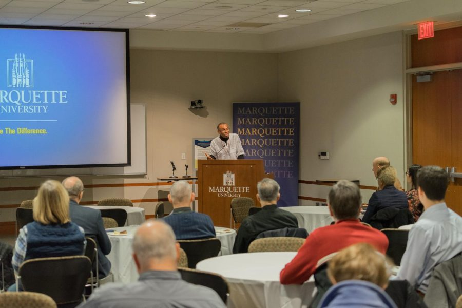 Agbonkhianmeghe Orobator spoke to members of the Marquette community about Jesuit education.