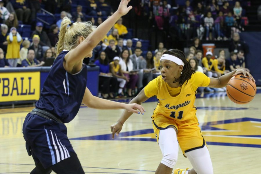 As a junior, Blockton was named BIG EAST Player and Scholar-Athlete of the Year. She tallied 15 points and six rebounds in Marquettes 90-69 victory over Villanova.