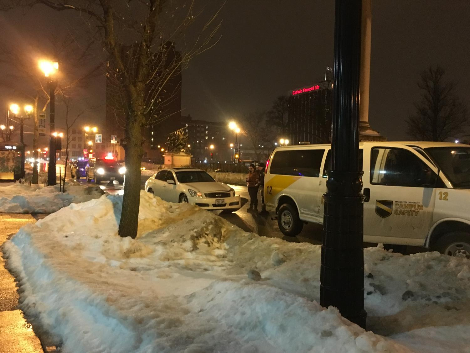 The car crash was in front of the Straz Tower residence hall.