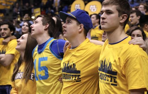 Students band together at last year's National Marquette Day Men's Basketball game vs. Providence.