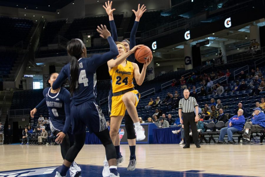 Sophomore guard Selena Lott goes for a layup in her fifth career BIG EAST Tournament game.