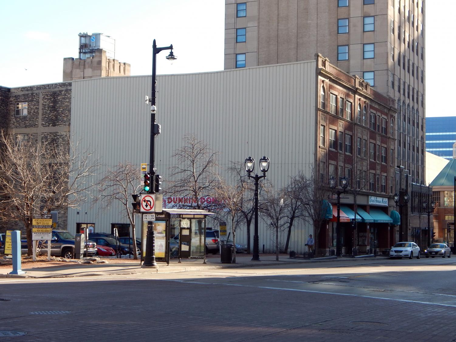 The mural will be located outside the Dunkin' Donuts at the corner of James Lovell Street and Wisconsin Avenue.  Photo courtesy of Milwaukee Downtown, BID No. 21