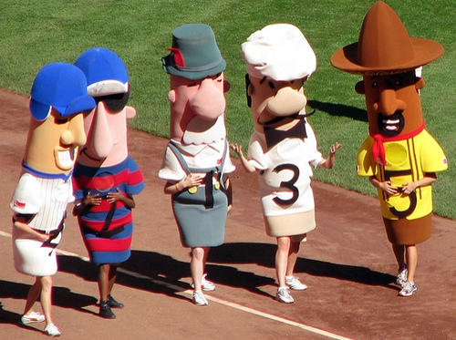 The Sausage Race occurs during every Brewers game and has been a tradition at Miller Park for many years. It is just one of several activities that makes Brewers games unique.  Photo via Flickr.