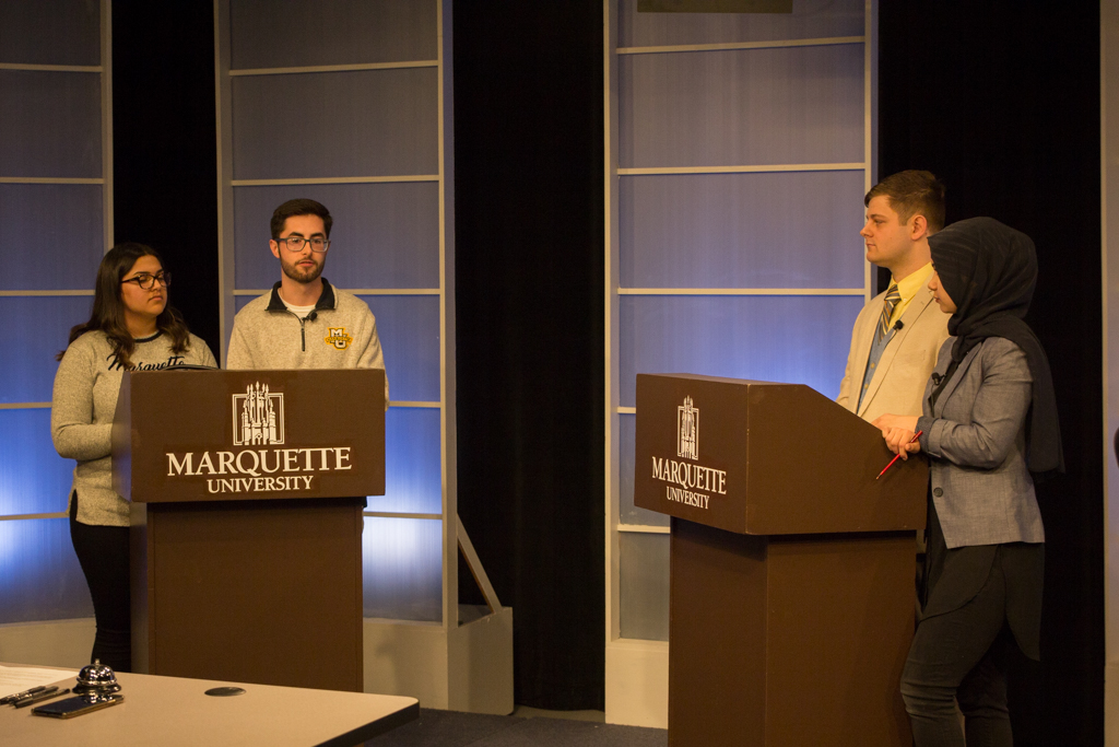 The MUSG debate was an opportunity for students to hear from the two ticket candidates running for president and executive vice president before voting March 28.