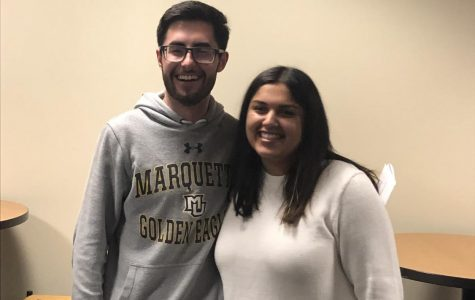 Dan Brophy and Sara Manjee stand together after the results from the 2019 spring elections were announced. Brophy will be the new executive vice president and Manjee will be the next president for MUSG.