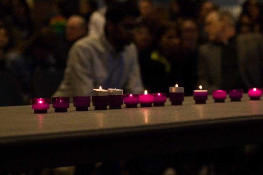 Fifty+candles+were+lit+at+the+vigil+held+at+the+AMU+for+the+victims+of+the+mass+shooting+in+New+Zealand+on+Friday.+
