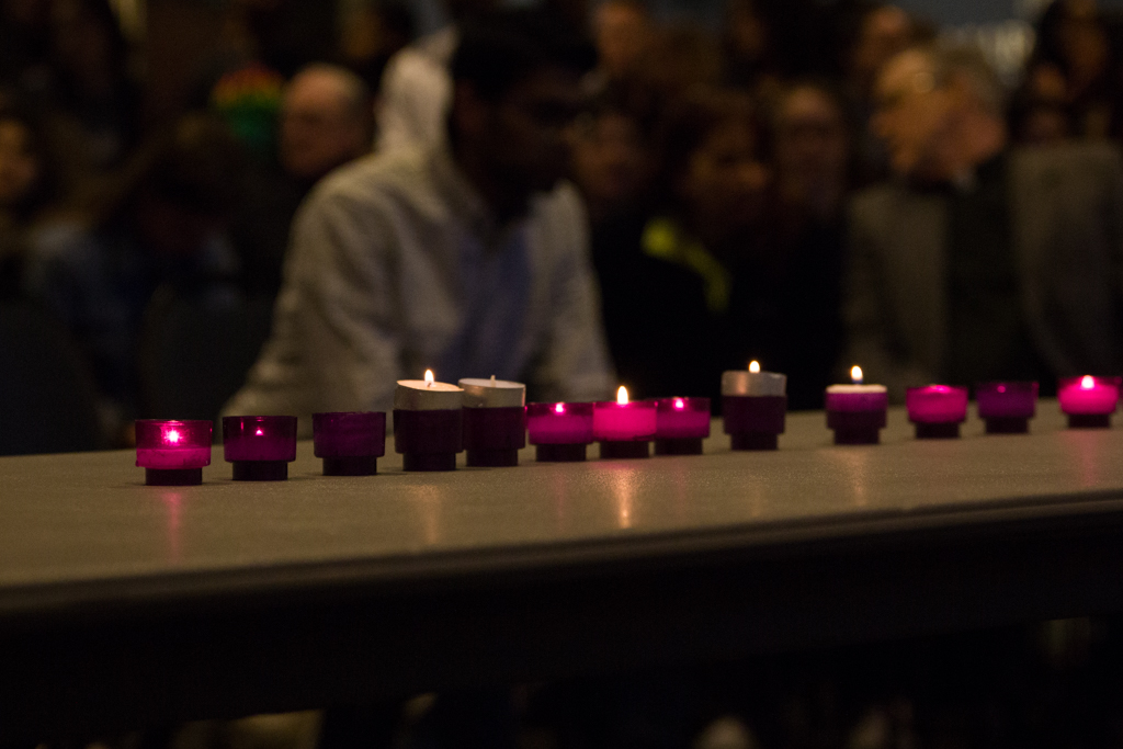 Fifty candles were lit at the vigil held at the AMU for the victims of the mass shooting in New Zealand on Friday.
