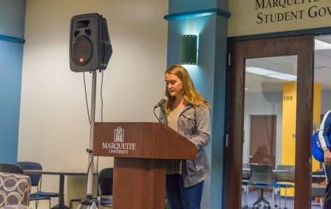 Current Marquette University Student Government President Meredith Gillespie announces the results for president and executive vice president are postponed until 5 p.m. tonight.