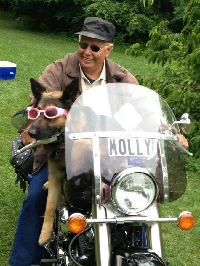 Tremmel has been known to drive around on his motorcycle with several of his dogs over the years. Photo courtesy of Molly the Motorcycle Dog Facebook
