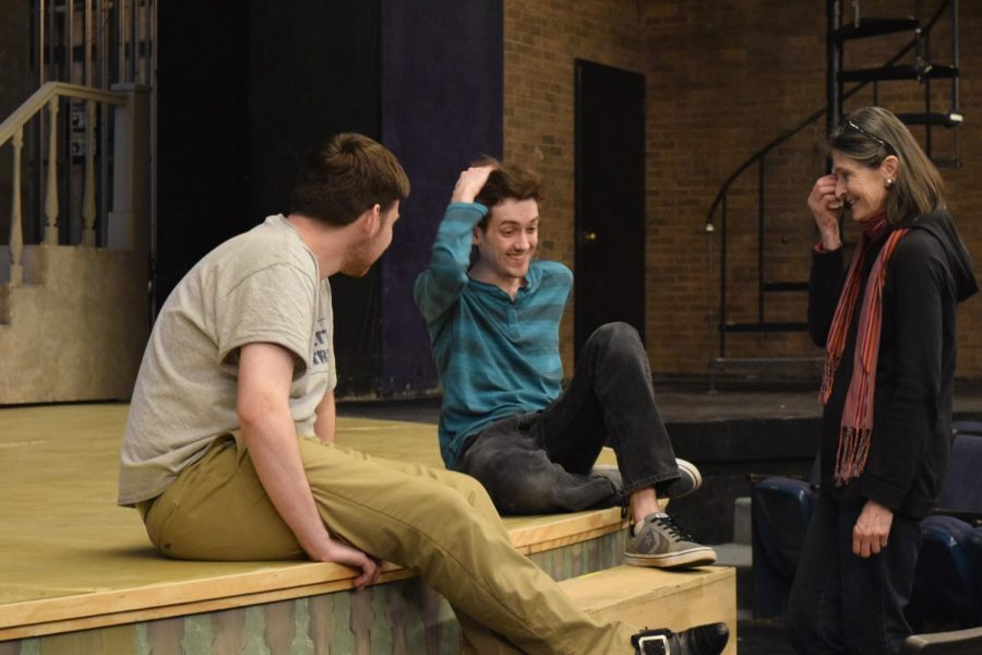 From left: Sophomore actor Jackson Hoemann, junior actor Cooper Adams, and Director Maureen Kilmurry chat after a Sunday afternoon rehearsal
