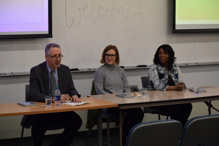 Richard Friman, Malania Klemowits and April Bentley complete the panel for the Cookies and Conversations event in Cudahy Hall.