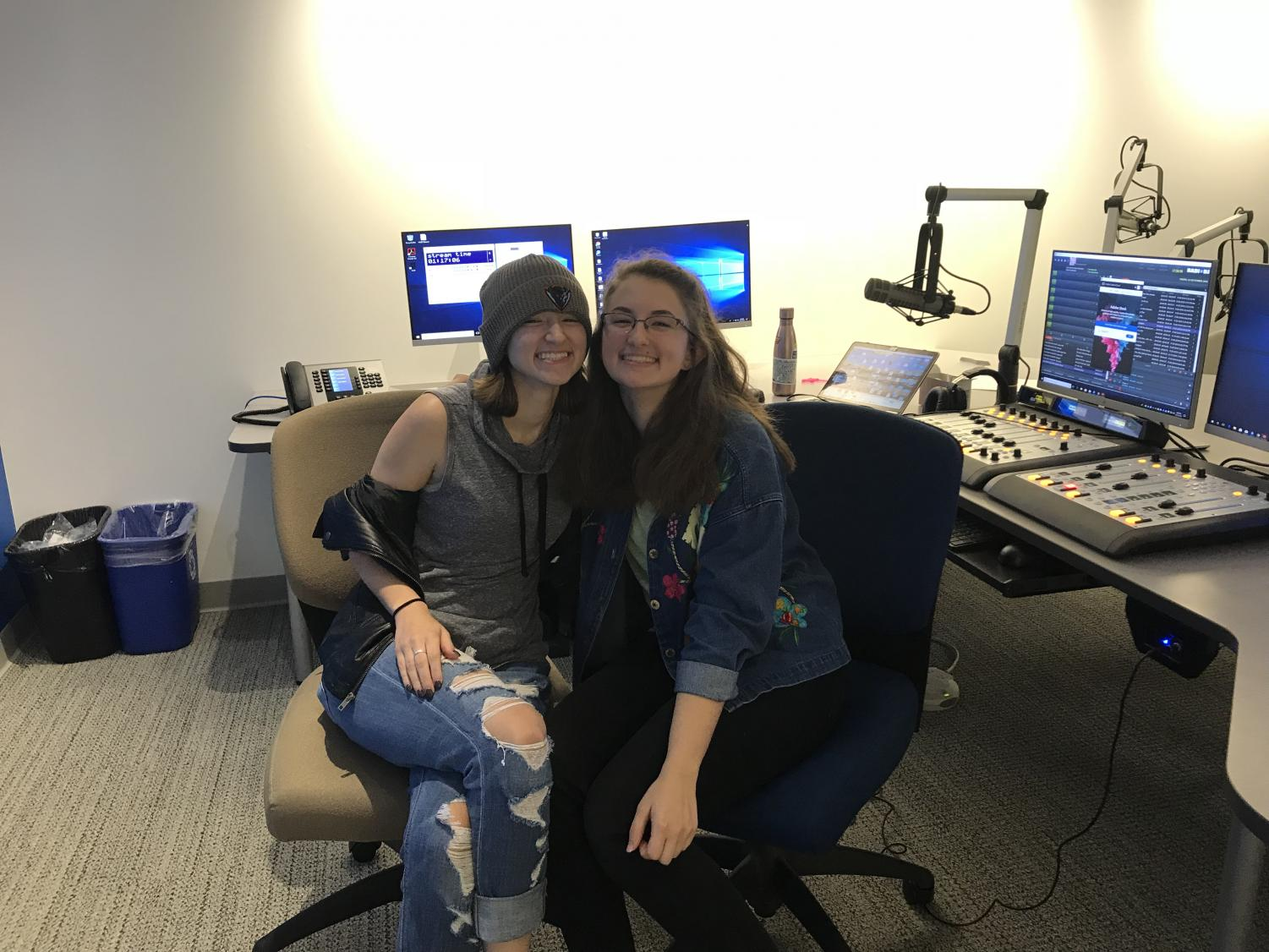 In the radio studio with my sister, Natalie, after airing Dad Rock Radio.