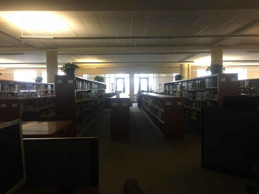 Emergency lights in Raynor Library are on awaiting for the power to be restored by WE Energies.
