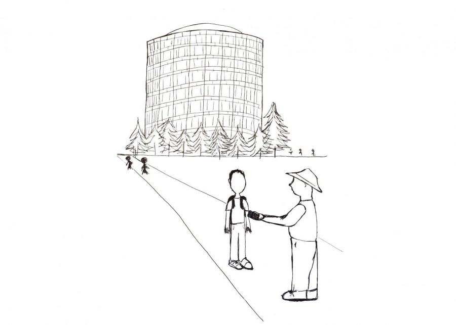Melvin Spence questions a student. Illustration by Natallie St. Onge.