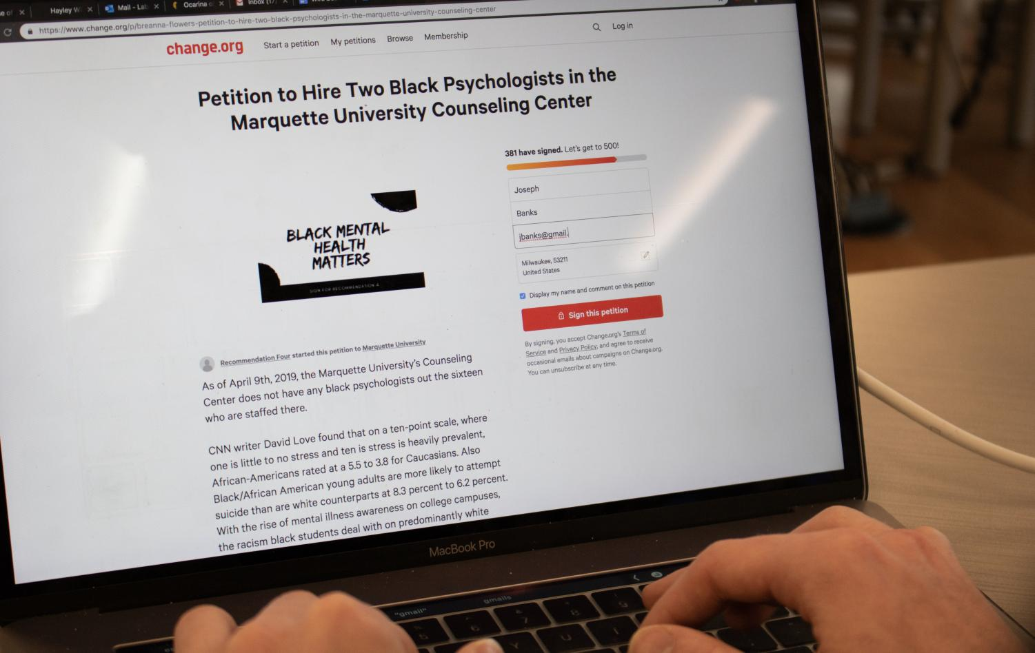 Students decided to create a petition April 9 to hire two black psychologists to Marquette's counseling center.