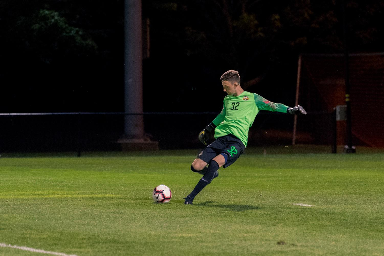 Jackson Weyman fires a goal kick in Marquette's exhibition win over Notre Dame in August.