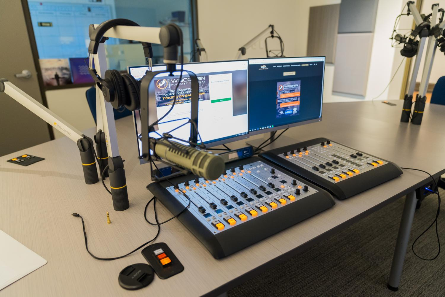 Audio content for a podcast can be created using technology such as a microphone, a sound board and a pair of headphones.