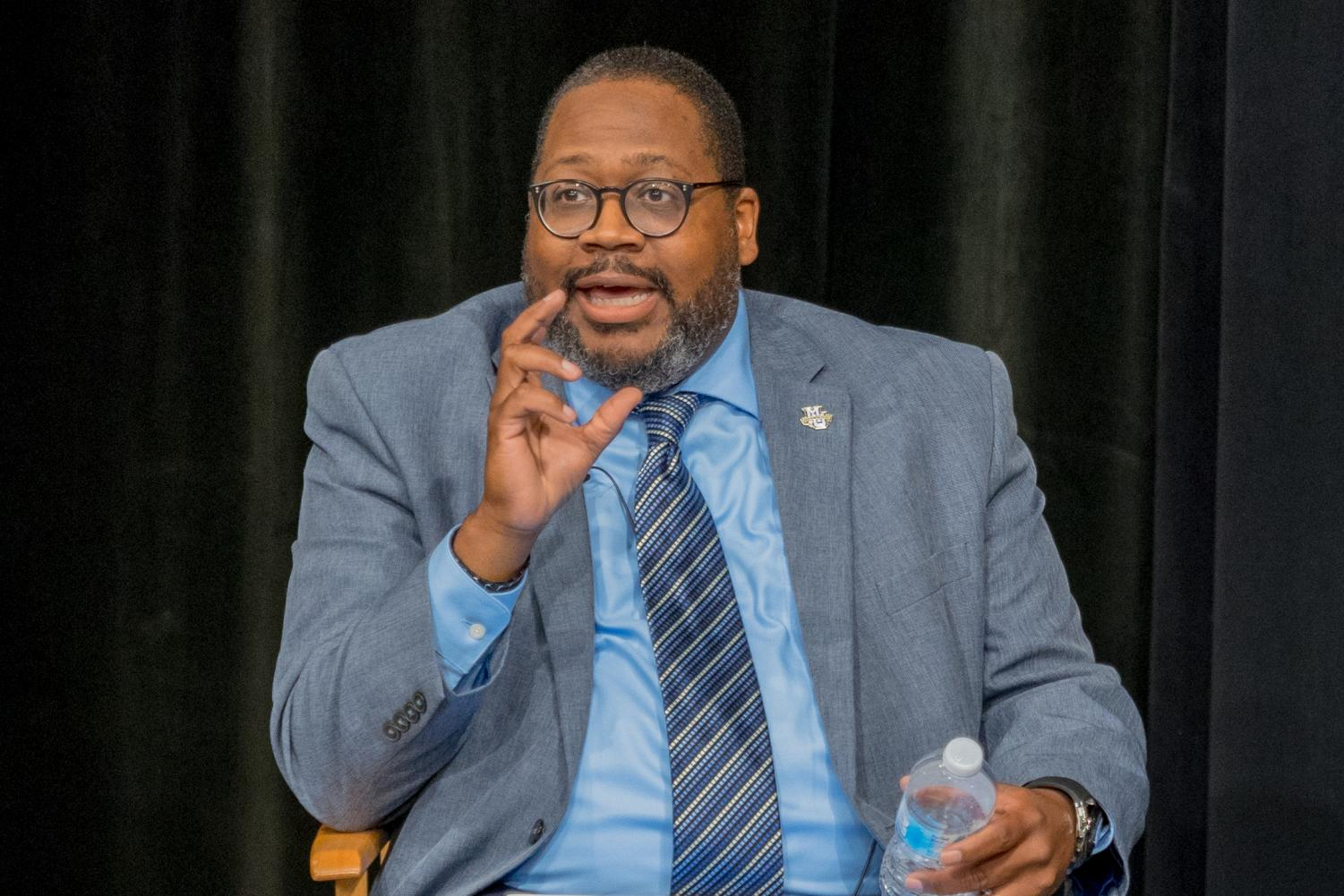 Vice president of Student Affairs Xavier Cole speaks about the new Office of Engagement and Inclusion at the Aug. 20 news conference.