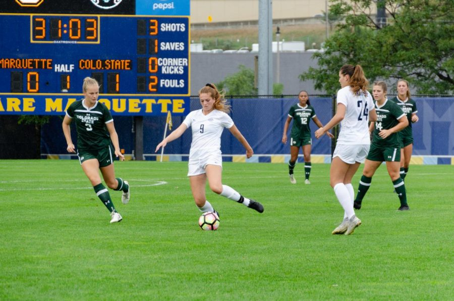 Macey Shock (9) goes to kick a ball in Marquette's 2-1 loss to Colorado State University Sept. 22.